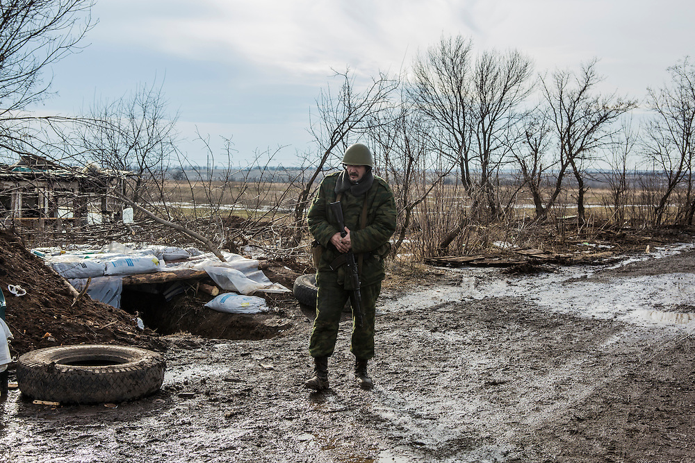 GORLOVKA, UKRAINE - JANUARY 31, 2015: A rebel fighter at a front-line position in Gorlovka, Ukraine. Fighting in Ukraine has intensified over the last week, with rebels declaring the end of a September ceasefire. CREDIT: Brendan Hoffman for The New York Times