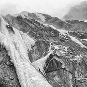 "Doug Heinrich climbing ""My Daddy's a Psycho,"" Murchison Falls, Jasper Natiional Park, Alberta Canada"