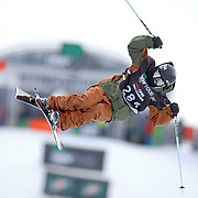 SHOT 12/17/10 4:42:22 PM - Torin Yater-Wallace of Basalt, Co. gets during qualifiers for the Superpipe Finals during the Nike 6.0 Open stop of the Winter Dew Tour at Breckenridge Ski Resort in Breckenridge, Co. Yater-Wallace is only 15 years old and finished in fifth in the Finals with a score of 83.25. It was his first time competing professionally. The event features ski and snowboard slopestyle and superpipe. (Photo by Marc Piscotty / © 2010)