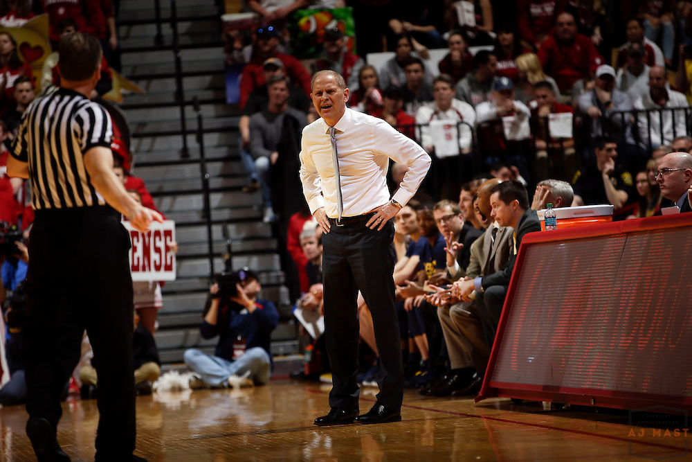 Michigan head coach John Beilein in action as Michigan played Indiana in an NCCA college basketball game in Bloomington, Ind., Sunday, Feb. 12, 2017. (AJ Mast)