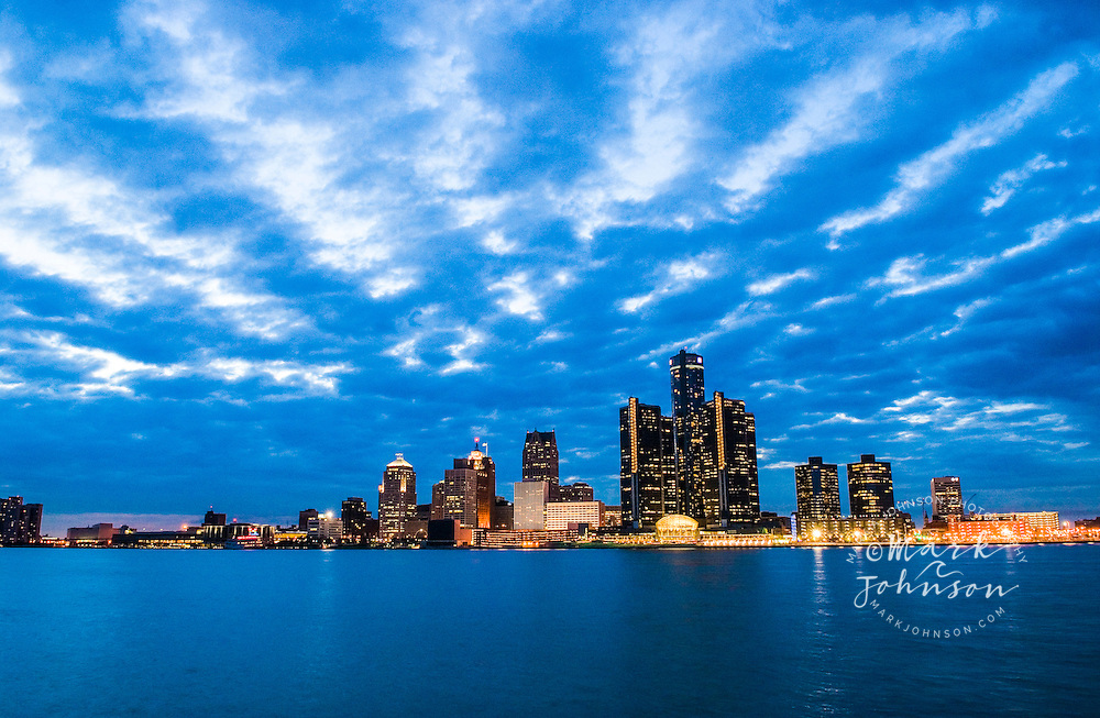 Downtown Detroit, Michigan across the Detroit River.  Shot from Windsor, Ontario, Canada