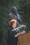 Virginia Wilson Mounger speaks at the dedication of the LQC Lamar statue at the LQC Lamar House in Oxford, Miss. on Saturday, October 9, 2010.