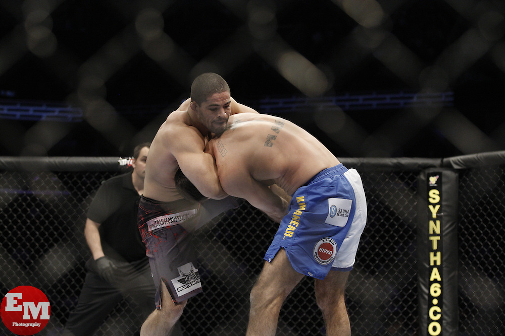 Dec 12, 2009; Memphis, TN, USA; Rousimar Palhares and Lucio Linhares during their bout at UFC 107 at the FedEx Forum in Memphis, TN.  Palhares won via heel hook in the second round.
