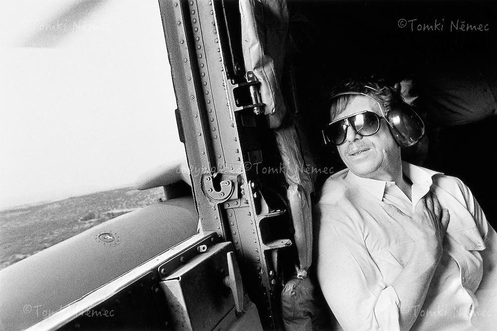 Israel, 27 April 1990 - Jerusalem.Taking a helicopter to the Kfar Masaryk kibbutz as part of an official visit to Israel..
