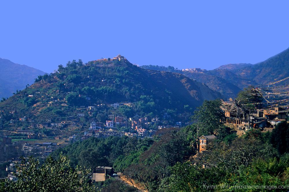 Asia, Nepal, Kathmandu. View from Swayambhunath Stupa accross the hills of Kathmandu.