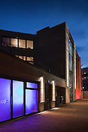 Offices near Old Street, London, at night, lit by LED lighting