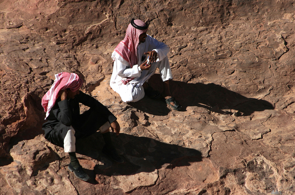 Bedouin guides in Wadi Rum, Jordan, taking a break