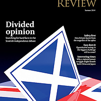 Rathbones Review Summer 2014 Cover. Divided Opinion; Searching For Facts In The Independence Debate. Design Laura Wells at Bulletin. Image, Graham Hughes. All Rights Reserved Bulletin 2014