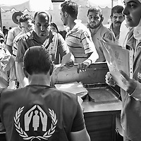 Egypt / Syrian refugees / Hundreds of Syrian refugees register for protection and other social services at UNHCR offices in the Zamalek neighborhood in Cairo, Egypt, Tuesday, May 28, 2013. Many Syrian refugees fled the violence in their homeland and were displaced to neighboring countries, including Egypt. The Ministry of Foreign Affairs estimates that there may be almost 150,000 Syrian refugees in Egypt, most of whom reside in the cities of Cairo and Alexandria.  / UNHCR / Shawn Baldwin / May 2013