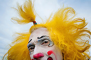 """Julius Carallo also known as """"Clown Chips"""" prepares for a shot during a stop with the Cole Bros. Circus at the Prince Willima County Fairgrounds in Manassas, Va."""