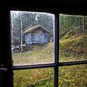 Mølle fra 1820, restaurert på 1960-tallet. Ved elva Kalvåa. Selbu bygdemuseum. Bildet er tatt fra eldhuset.