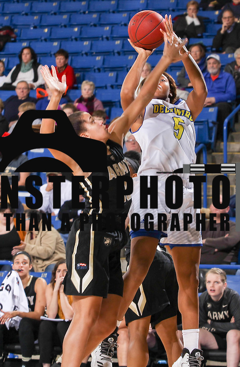 Delaware Forward Makeda Nicholas (5) drives to the basket as Army West Point Guard Aliyah Murray (10) defends during a regular-season non conference game between Delaware and Army West Point Sunday, Dec. 11, 2016, at the Bob Carpenter Center in Newark Delaware.