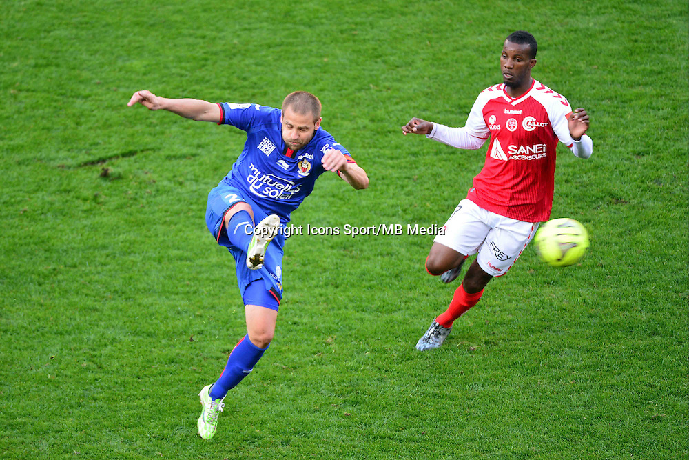 Mathieu BODMER / Odair FORTES - 12.04.2015 - Reims / Nice - 32eme journee de Ligue 1 <br />