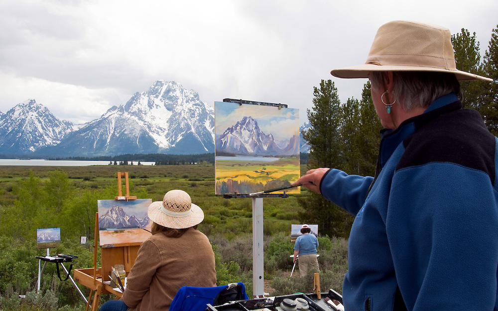 An ideal spot for a painting class. A glimpse of Jackson Lake can be seen at the Tetons range base. Grand Tetons National Park, Wyoming.
