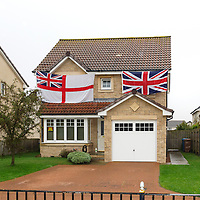 Union Jack Flags On House On Scottish Independence Polling Day In Cellardyke, Fife, Scotland
