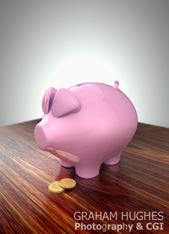 Pink piggy bank with gold pound coins on dark wood table.