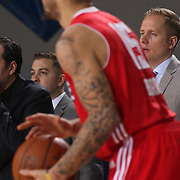 Delaware 87ers Assistant Coach ANDREA MAZZON yells instruction to players from court side in the second half of a NBA D-league regular season basketball game between the Delaware 87ers and the Maine Red Claws  Friday, Feb. 05, 2016 at The Bob Carpenter Sports Convocation Center in Newark, DEL.