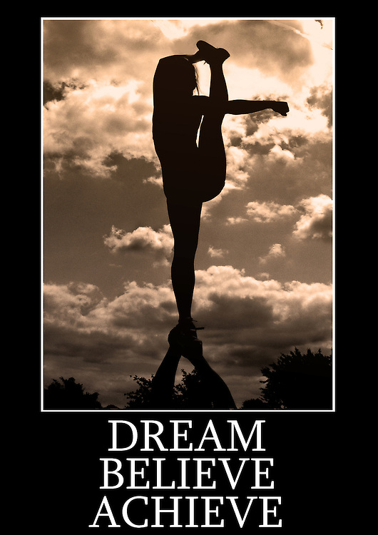 Motivational cheerleading poster of a single based bow and arrow flyer stretch with a phrase that reads &quot;Dream Believe Achieve&quot; <br /> Measures 33 x 23.5 inches/A1