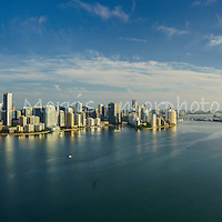 This version is watermarked, contact us to license and clean version. Wide angle aerial panorama of the Miami Skyline, from the east looking over Biscayne Bay, featuring the Brickell waterfront.