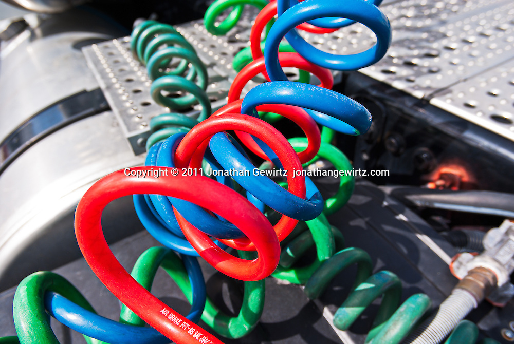 Colorful air brake lines on a large truck. WATERMARKS WILL NOT APPEAR ON PRINTS OR LICENSED IMAGES.