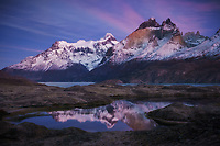 Sunrise clouds over Los Cuernos and Paine Grande, Torres del Paine National Park, Chile