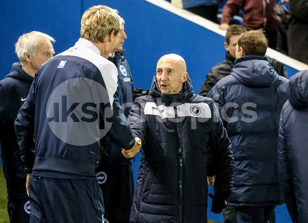 Millwall manager Ian Holloway shakes hands with Brighton Manager Sami Hyypia before the Sky Bet Championship match between Brighton and Hove Albion and Millwall at the AMEX Stadium, Brighton, England on 12 December 2014. Photo by Liam McAvoy.