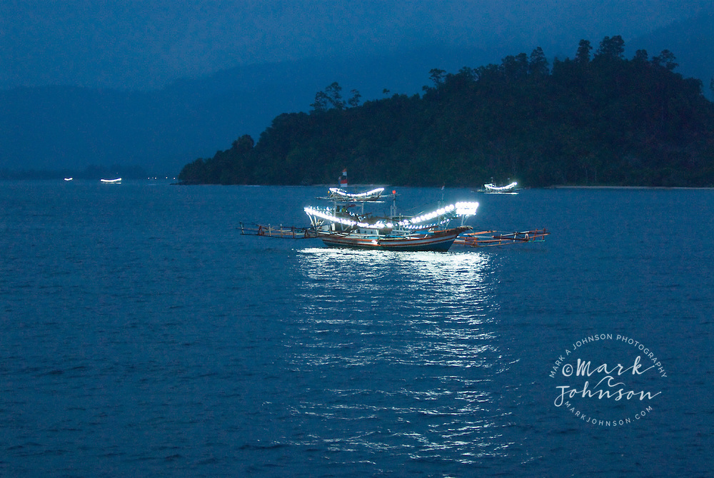 Traditional fishing boats off the coast of Padang, Sumatra, Indonesia