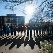 International Day of Tolerance (Photo by Gonzaga University) Students and faculty gather outside of the Crosby Center by the wall to recognize International Day of Tolerance.