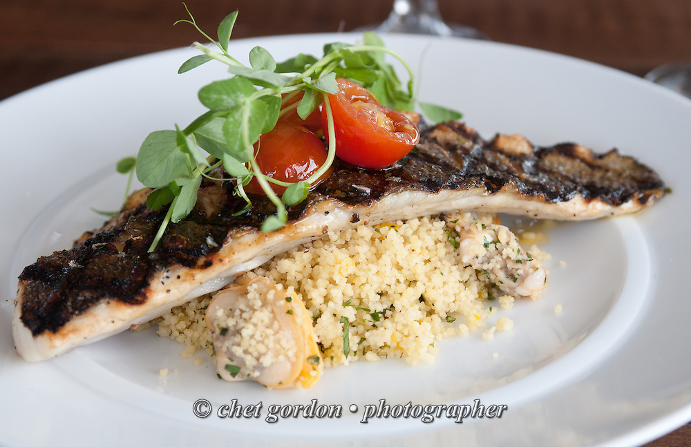 Grilled Branzino over couscous, with clams & roasted lemon ...