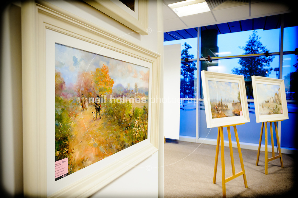 Preview evening at The 1 Gallery located in the Humber Quays number 2 for the work of Hull born, Romantic Marine Artist, Stewart Taylor. Thursday 11 October 2012.
