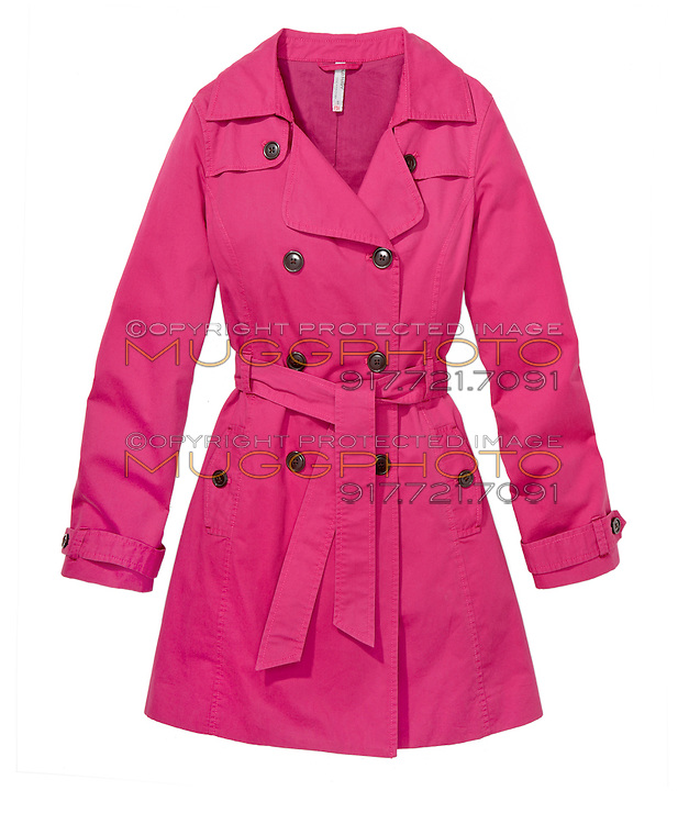 Pink trench coat on white background