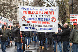 London, March 9th 2016. London cabbies demonstrate and march to the headquarters of Transport For London in Victoria, against the government's continued support for Uber cars which are impacting the trade of Licenced London taxi drivers who complain that passengers are unsafe in the unregulated Uber cars. &copy;Paul Davey<br /> FOR LICENCING CONTACT: Paul Davey +44 (0) 7966 016 296 paul@pauldaveycreative.co.uk
