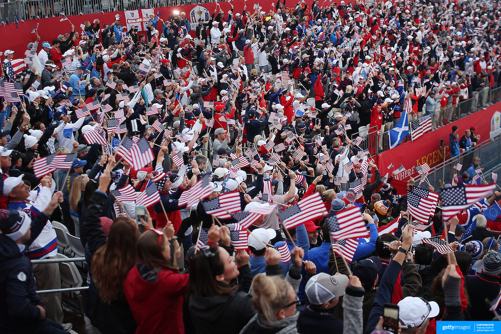 Ryder Cup 2016. Day One. Spectators at the first tee sing songs before the start of the Ryder Cup at the Hazeltine National Golf Club on September 30, 2016 in Chaska, Minnesota.  (Photo by Tim Clayton/Corbis via Getty Images)