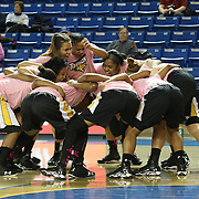 The Towson Tigers celebrates  prior to taking the floor for a NCAA regular season Colonial Athletic Association conference game between The Towson Tigers and Delaware Sunday, Feb 16, 2014 at The Bob Carpenter Sports Convocation Center in Newark Delaware.