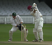 Photo Peter Spurrier.01/09/2002.Village Cricket Final - Lords.Elvaston C.C. vs Shipton-Under-Wychwood C.C..Shipton wicket keeper Shane Duff, look's on as Elevaston's Lee Archer is bowled by Phil Garner