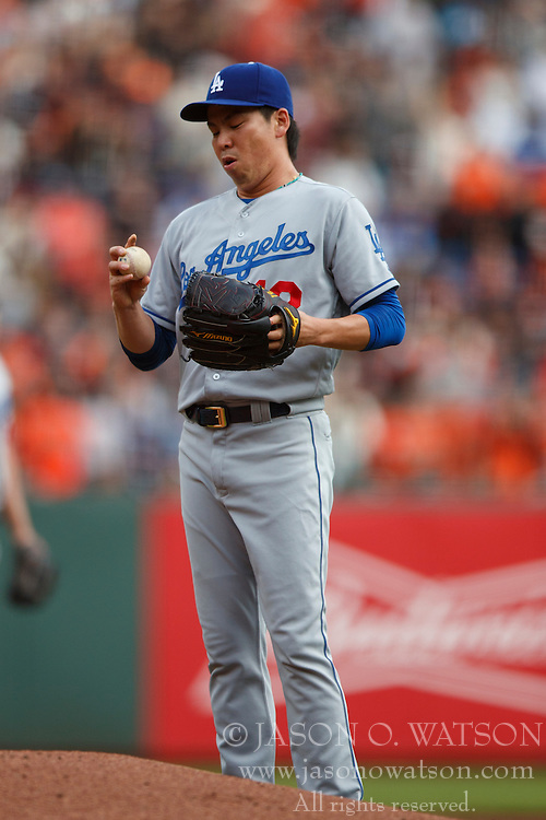 SAN FRANCISCO, CA - OCTOBER 02: Kenta Maeda #18 of the Los Angeles Dodgers reacts after giving up a run against the San Francisco Giants during the second inning at AT&T Park on October 2, 2016 in San Francisco, California. The San Francisco Giants defeated the Los Angeles Dodgers 7-1. (Photo by Jason O. Watson/Getty Images) *** Local Caption *** Kenta Maeda