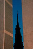 NYC, NY, World Trade Center, Twin Towers, and Saint Paul's Chapel