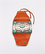 0196-1000C ~ Copyright: George H. H. Huey ~ Silver and turquoise bow guard. Early Navajo Style (Circa 1920) Artist unknown. Arizona.