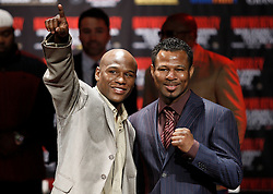 Mar 2, 2010; New York, NY, USA; Floyd Mayweather (l) and Shane Mosley (r) pose after the press conference announcing their May 1, 2010 fight.  The two fighters will meet at the MGM Grand Garden Arena.