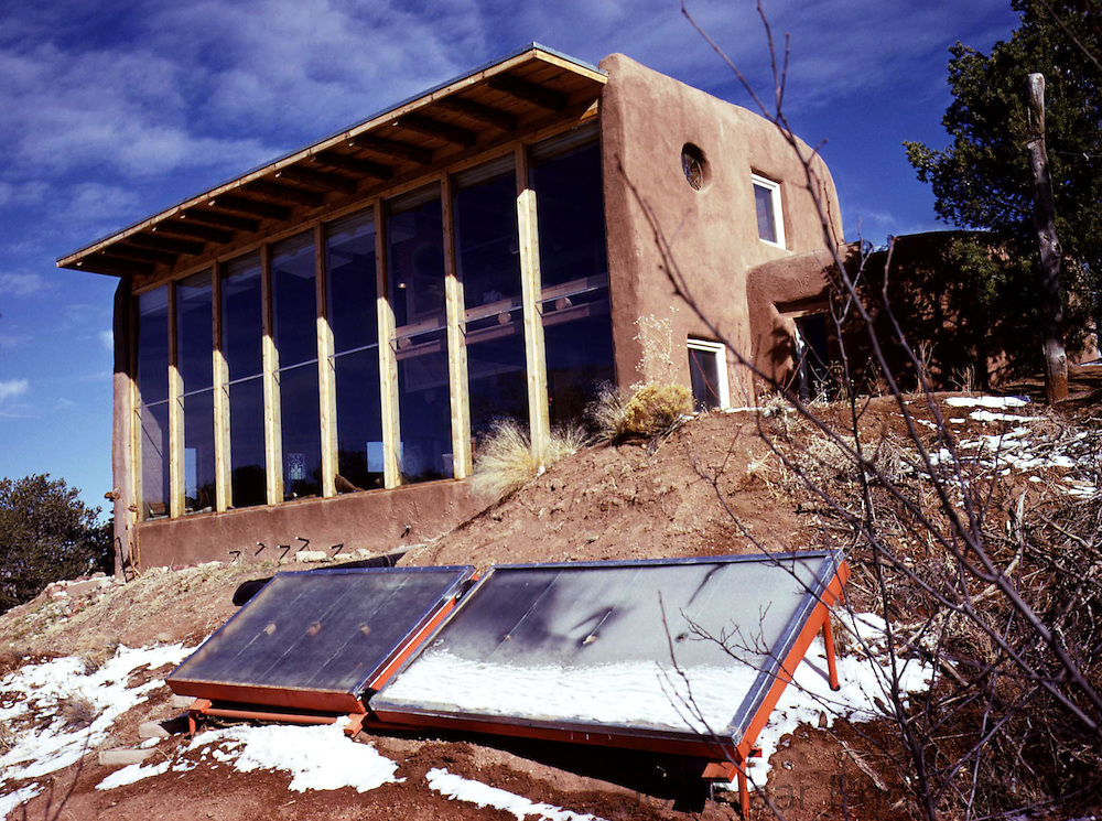 """Pioneer passive solar house designed by David Wright.  Photo published in """"Design for a Limited Planet"""" in 1977.  Taken with Nikon FM on 35 mm camera."""