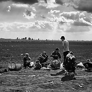 Refugees rests in a field in Hungary right after crossing the border from Serbia, on september 12, 2015. Thousands of refugees, most of them from Syria, cross this border everyday with the hope to reach european countries like Sweden or Germany. The next step for them will be to register in Hungary before continuing their long journey.