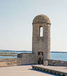 guard at Castillo De San Marcos<br /> National Monument in St. Augustine, Florida