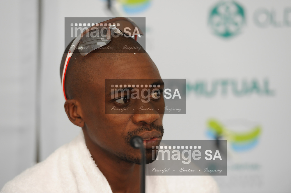 CAPE TOWN, South Africa - Saturday 30 March 2013, 1st place Stephen Lesego Mokoka at the press conference during the half marathon of the Old Mutual Two Oceans Marathon. .Photo by Roger Sedres/ ImageSA