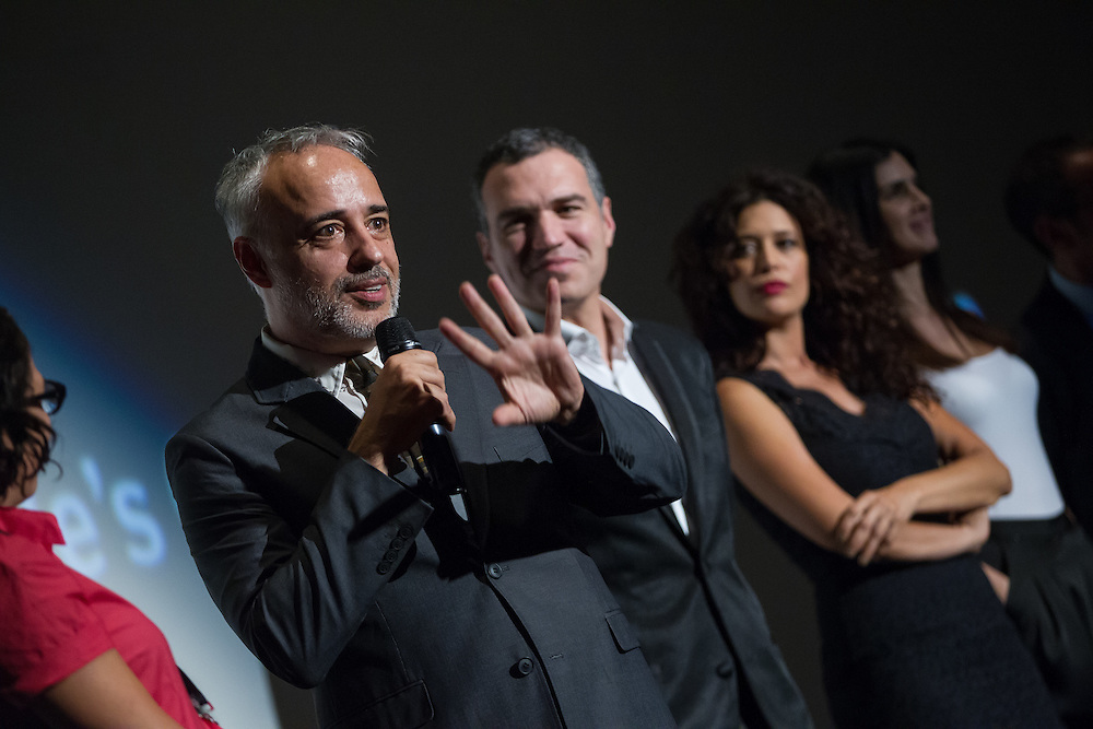 Javier Fuentes-Le&oacute;n, director of The Vanished Elephant speaks to the audience during a question and answer session during the film's premier at the Toronto International Film Festival in Toronto, Ontario, September 6, 2014.<br /> AFP PHOTO/Geoff Robins