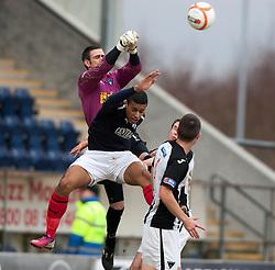 Falkirk's Lyle Taylor in on Dunfermline's keeper Paul Gallacher..half time : Falkirk v Dunfermline, 16/2/2013..©Michael Schofield.