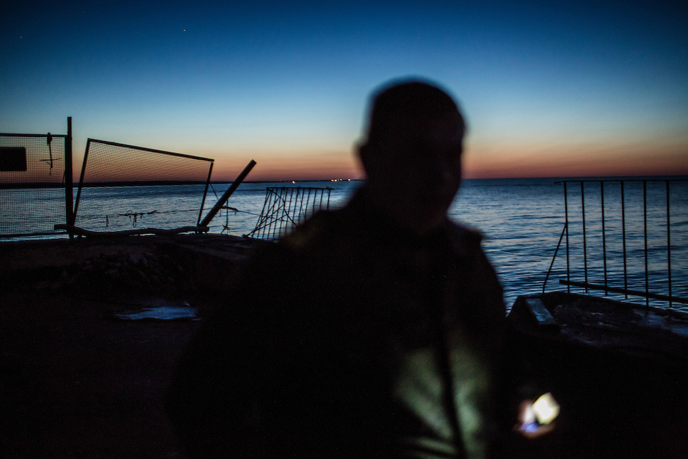 Aleksandr, a fisherman, on Saturday, April 11, 2015 in Siedove, Ukraine.