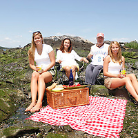 Alex Schibli visits his island - Rat Island for a picnic on June 15, 2012 ..Here they are joined by neices (please double check relationship) Melissa Lindahl (on left) and Stephanie Lindahl