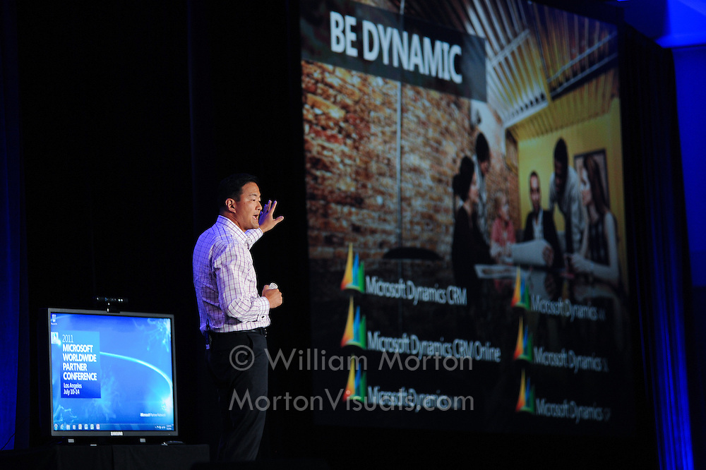 Microsoft VP Michael Park presents Dynamics at the West Coast Partners conference at the Los Angeles Convention Center. Event photography by Dallas event photographer William Morton of Morton Visuals.