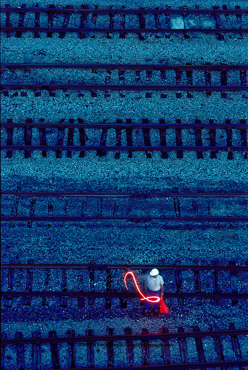 Railroad signalman in Grand Trunk Railroad train yard - HOK