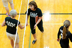 Kuna coach Deb Bradburn and Vale coach Shannon Steele shake hands following the Kuna Klassic championship game at Kuna High School, Kuna, Idaho, August 29, 2015.